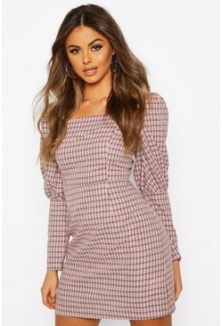 Puff Sleeve Check Belted Dress, Pink, MUJER