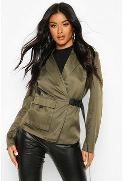 Tailoring Utility Belted Blazer, Khaki, Donna