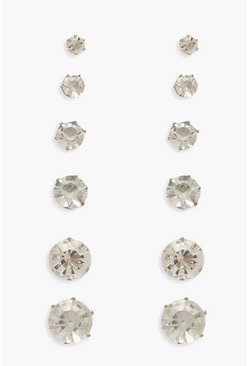 6 Pack Diamante Earrings, Silver, MUJER