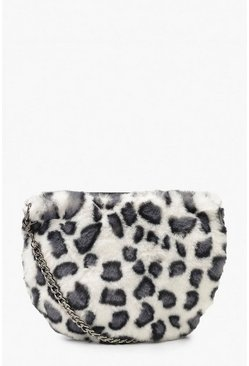 Womens Faux Fur Leopard Cross Body Bag