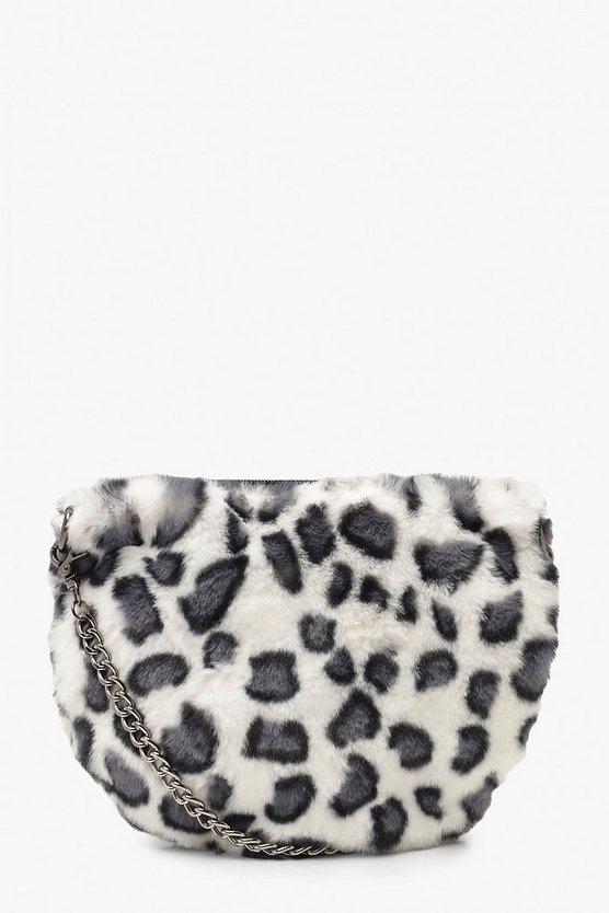 Faux Fur Leopard Cross Body Bag