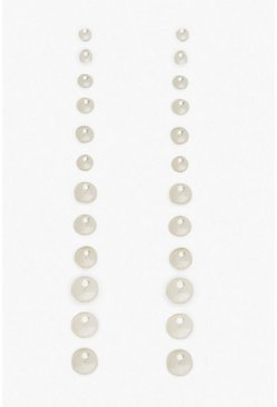 Womens 12 Pack Pearl Earrings