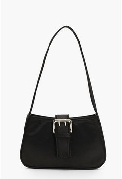 Womens Black Satin Buckle Detail Baguette Bag