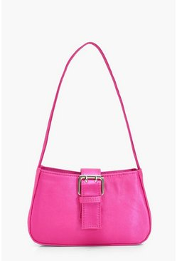 Hot pink Satin Buckle Detail Baguette Bag
