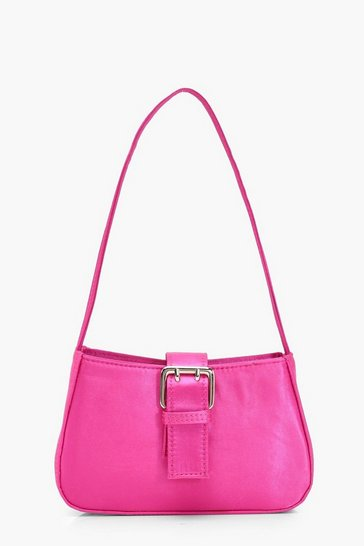 Womens Hot pink Satin Buckle Detail Baguette Bag