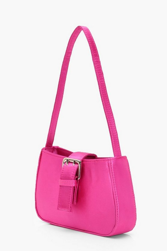 Satin Buckle Detail Baguette Bag
