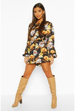 Dam Black Large Floral Balloon Sleeve Playsuit