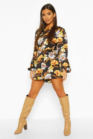 Black Large Floral Balloon Sleeve Playsuit