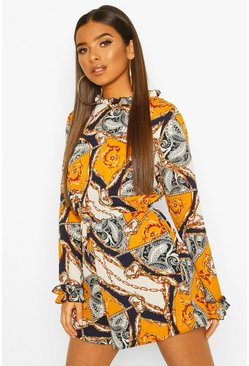 Mustard Chain Scarf Print Ruffle High Neck Playsuit