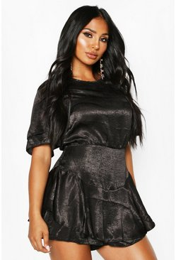 Velvet Satin Ruffle Layer Dress Playsuit, Black, DAMEN