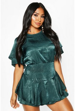 Teal Velvet Satin Ruffle Layer Dress Playsuit