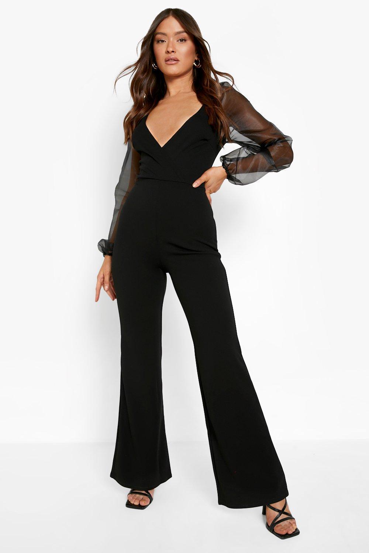 70s Prom, Formal, Evening, Party Dresses Womens Organza Off The Shoulder Jumpsuit - black - 10 $31.00 AT vintagedancer.com