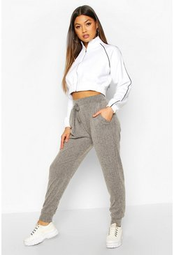 Soft Brushed Rib Cuffed Joggers, Grey, FEMMES