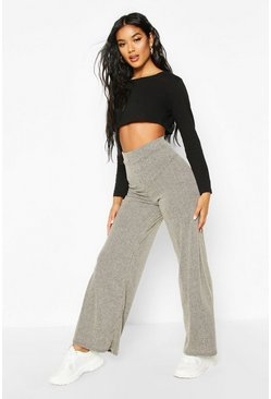 Soft Brushed Rib Wide Leg Joggers, Grey, FEMMES