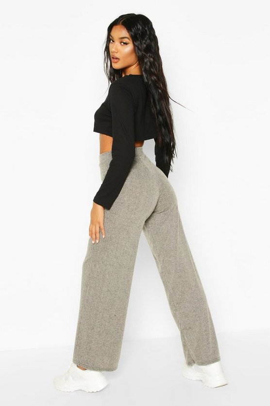 Soft Brushed Rib Wide Leg Joggers