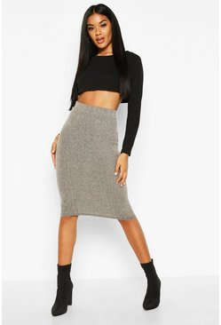 Womens Grey Soft Brushed Rib Midi Skirt