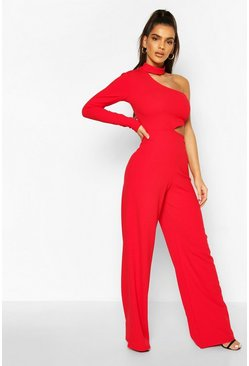 Red One Shoulder Wide Leg Cut Side Jumpsuit