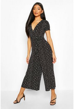 Womens Black Jersey Polka Dot Wrap Belted Jumpsuit