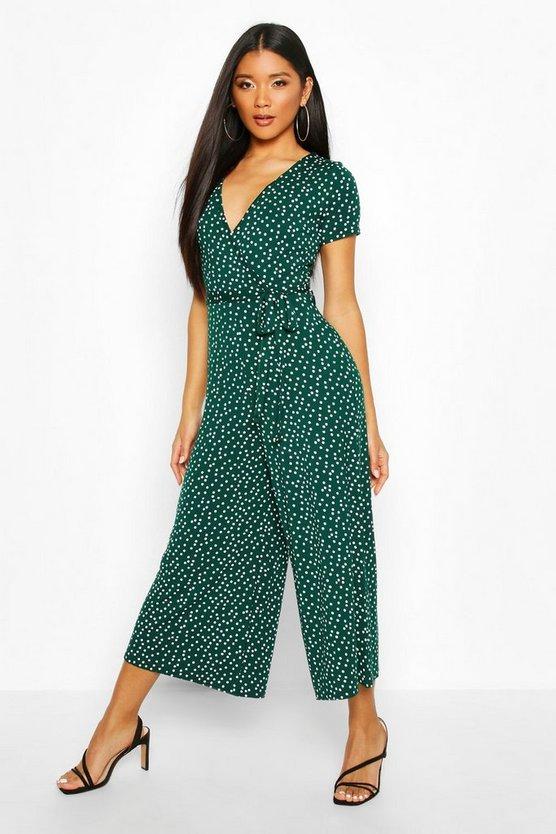 Jersey Polka Dot Wrap Belted Jumpsuit