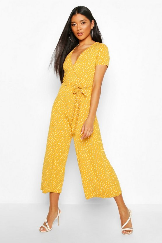 Jersey Polka Dot Wrap Belted Jumpsuit