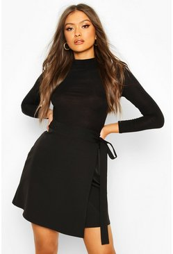 Black Wrap Tie Woven Mini Skirt