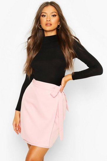 Womens Pink Wrap Tie Woven Mini Skirt