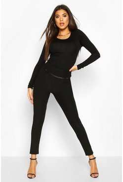 Black Leather Look Detail Leggings