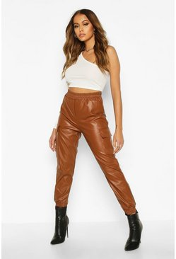 Womens Camel Leather Look Cargo Trousers