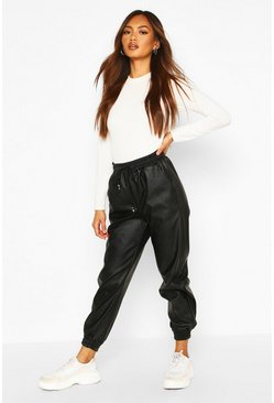 Womens Black Leather Look Jogger