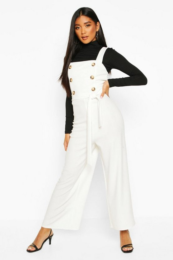 Button Detail Square Neck Jumpsuit