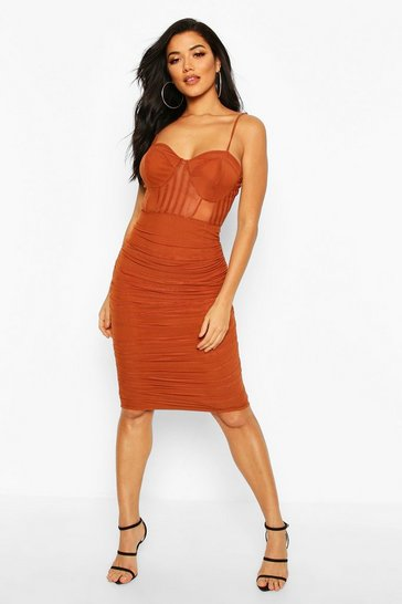 Womens Rust Mesh Ruched Midi Dress