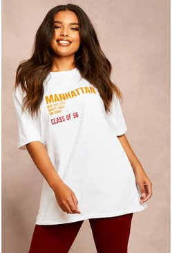 Recycled Oversized 'Class of 96' Slogan T-Shirt, White