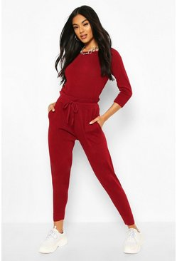 Recycled Slash Neck Knitted Lounge Set, Berry