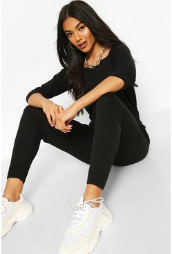 Black Recycled Slash Neck Knitted Lounge Set