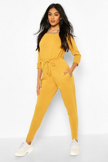 Mustard Recycled Slash Neck Knitted Lounge Set