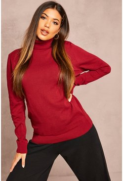 Recycled Roll Neck Jumper, Berry