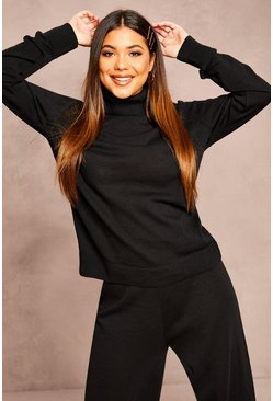Womens Black Recycled Roll Neck Jumper