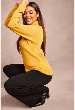 Womens Mustard Recycled Roll Neck Jumper