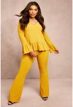 Womens Mustard Recycled Rib Flares