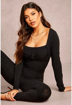 Womens Black Recycled Ruched Bust Rib Bodysuit
