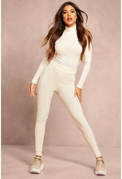 Womens Ecru Recycled Rib Leggings