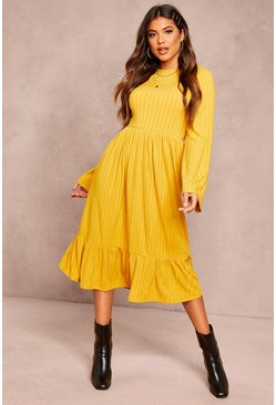 Womens Mustard Recycled Rib Midi Smock Dress
