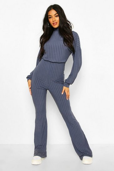 Blue Recycled Roll Neck Blouson Sleeve Rib Jumpsuit