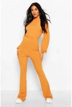 Tan Recycled Turtleneck Blouson Sleeve Rib Jumpsuit