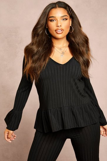 Womens Black Recycled Rib Smock Top
