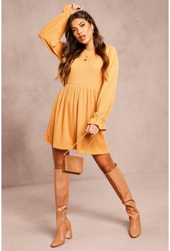 Womens Tan Recycled Ruffle Sleeve Rib Smock Dress