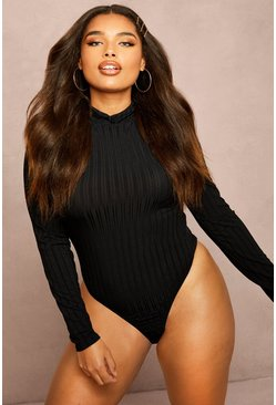 Womens Black Recycled Roll Neck Rib Bodysuit