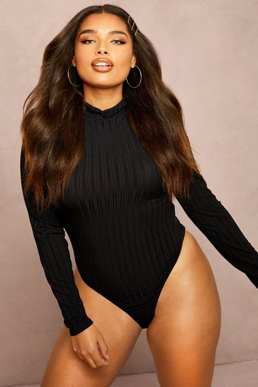 Black Recycled Roll Neck Rib Bodysuit