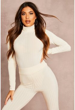 Womens Ecru Recycled Roll Neck Rib Bodysuit