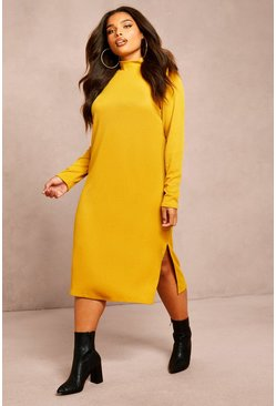 Womens Mustard Recycled Roll Neck Rib Side Split Tunic